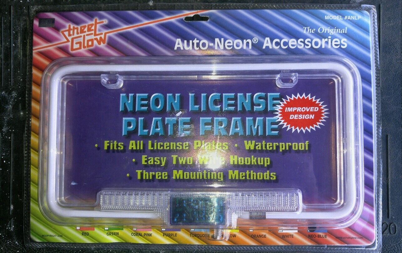BLUE NEON License Plate Frame Blue Neon Street Glow 1 Of 2Only 1 Available  ...