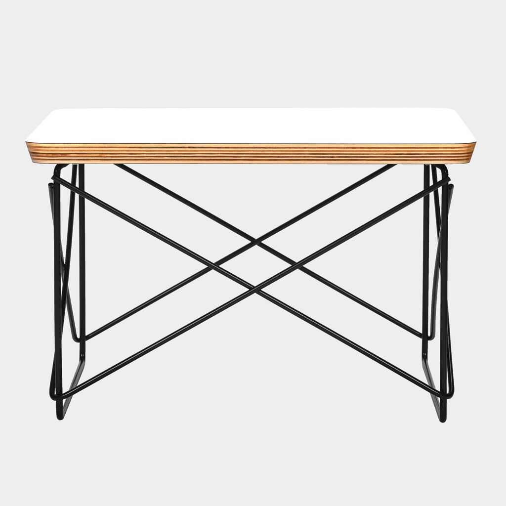 Eames ltr style low side coffee end table white top black for Eames style coffee table