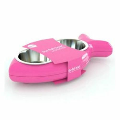 Hing Cat Bowl Kittenl Fish Twin Stainless Steel Bowls Non Slip Food Water Pink