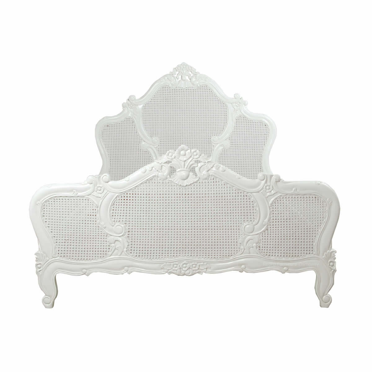 French Bed - Double - Louis Rattan - White Painted - New - 4ft 6