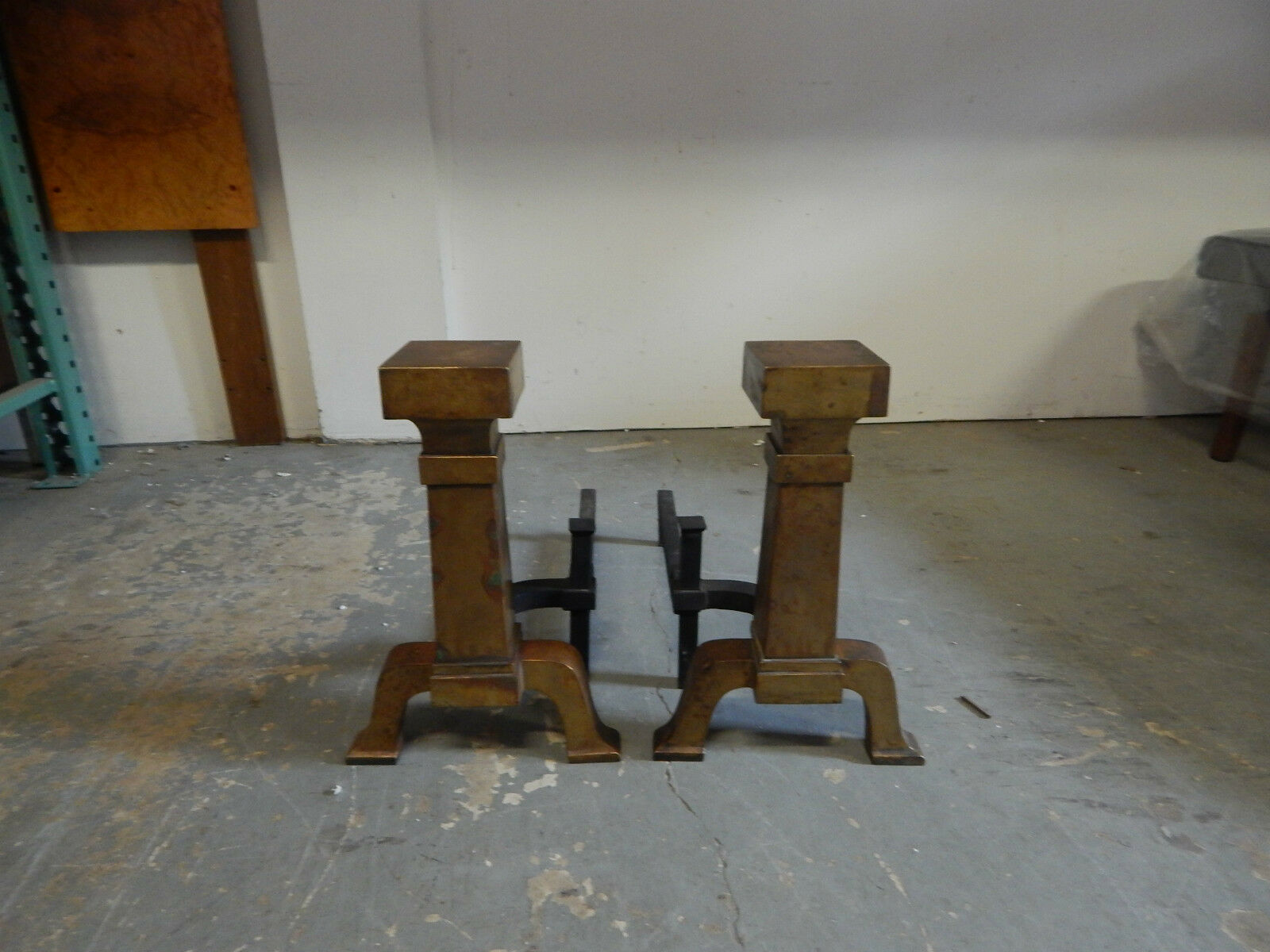 Vintage Large brass and wrought Iron Andirons