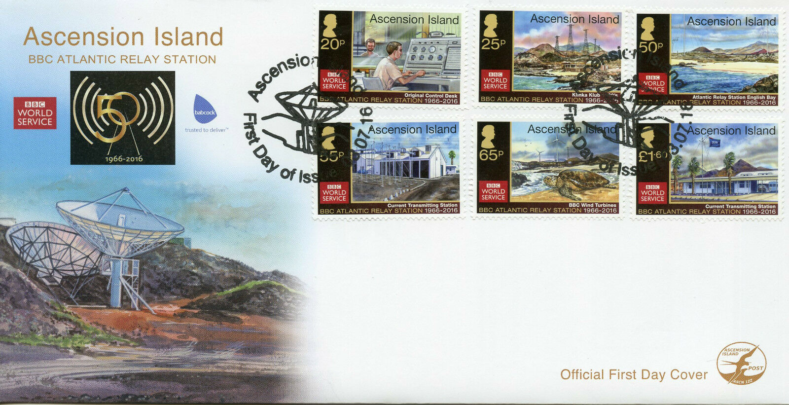 ascension island 2016 fdc bbc atlantic relay station 50th. Black Bedroom Furniture Sets. Home Design Ideas