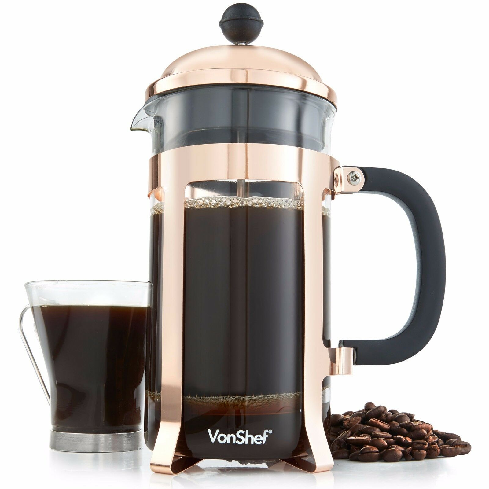 Vonshef Filter Coffee Maker : VonShef 8 Cup/1 Litre Copper Finish French Press Cafetiere Filter Coffee Maker EUR 20,08 ...