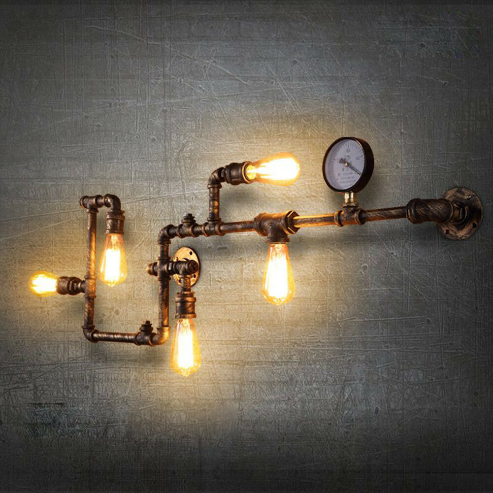 new industrial steampunk wall lamp retro wall light rustic. Black Bedroom Furniture Sets. Home Design Ideas