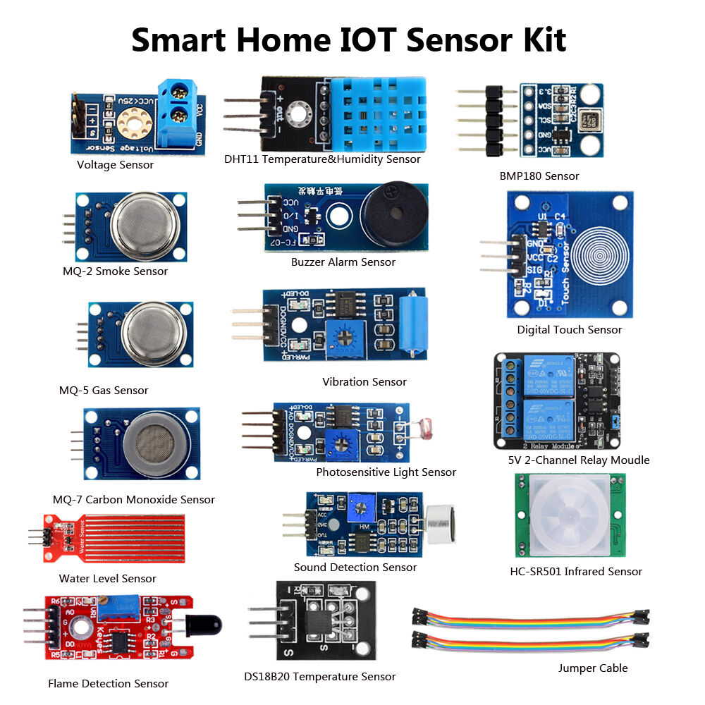 diy smarthome system internet of things 16 sensor kits for arduino raspberry pi3. Black Bedroom Furniture Sets. Home Design Ideas