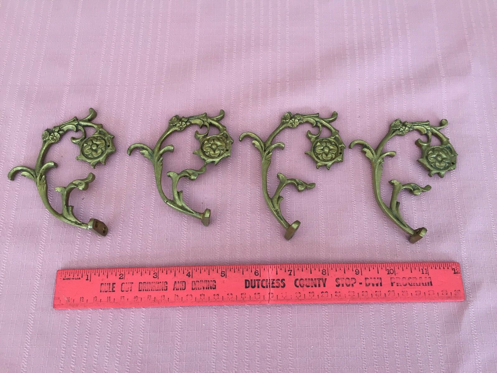Vintage Lot of 4 Brass Chandelier Arms Ornate Scroll Part Rosettes holes to hang