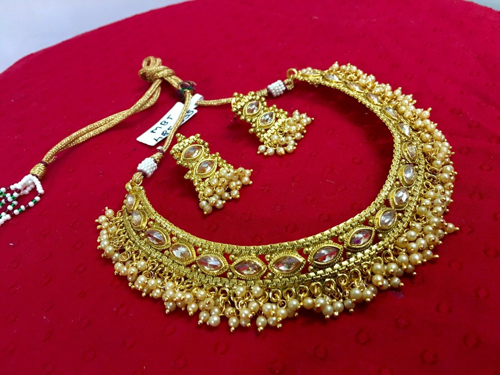gold pretty necklace plated jewelry pin jewellery set indian earrings fashion