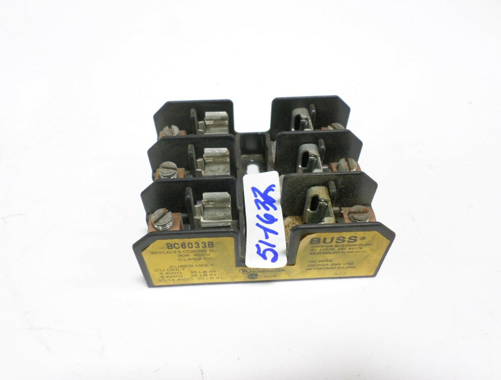Cooper Bussmann 30a 600v 3p Fuse Block Bc6033b 2995 Picclick Buss Box 1 Of 1only Available