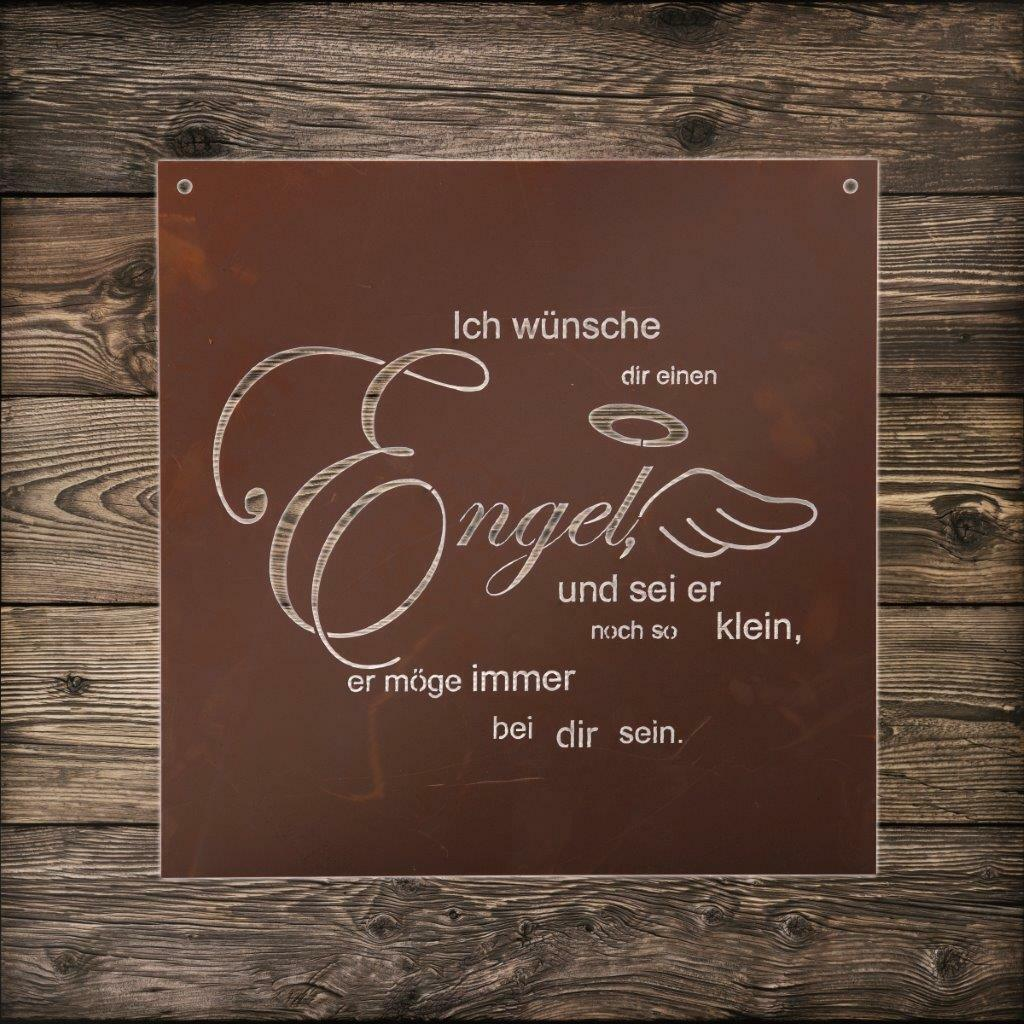 edelrost gedicht tafel engel spruch deko wandbild. Black Bedroom Furniture Sets. Home Design Ideas