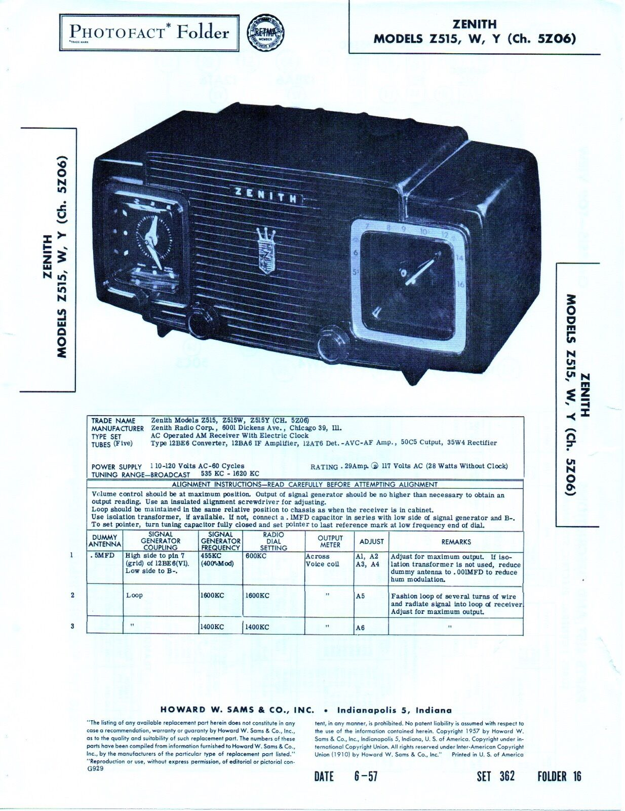 1957 Zenith Z515 Radio Service Manual Photofact Schematic Z515y Schematics 1 Of 1only Available