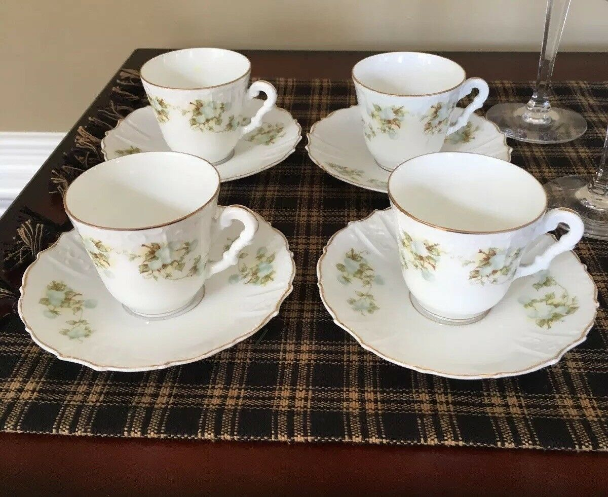 Antique OHME, HERMANN Porcelain Germany Set Of 5 DEMI Cups And Saucers