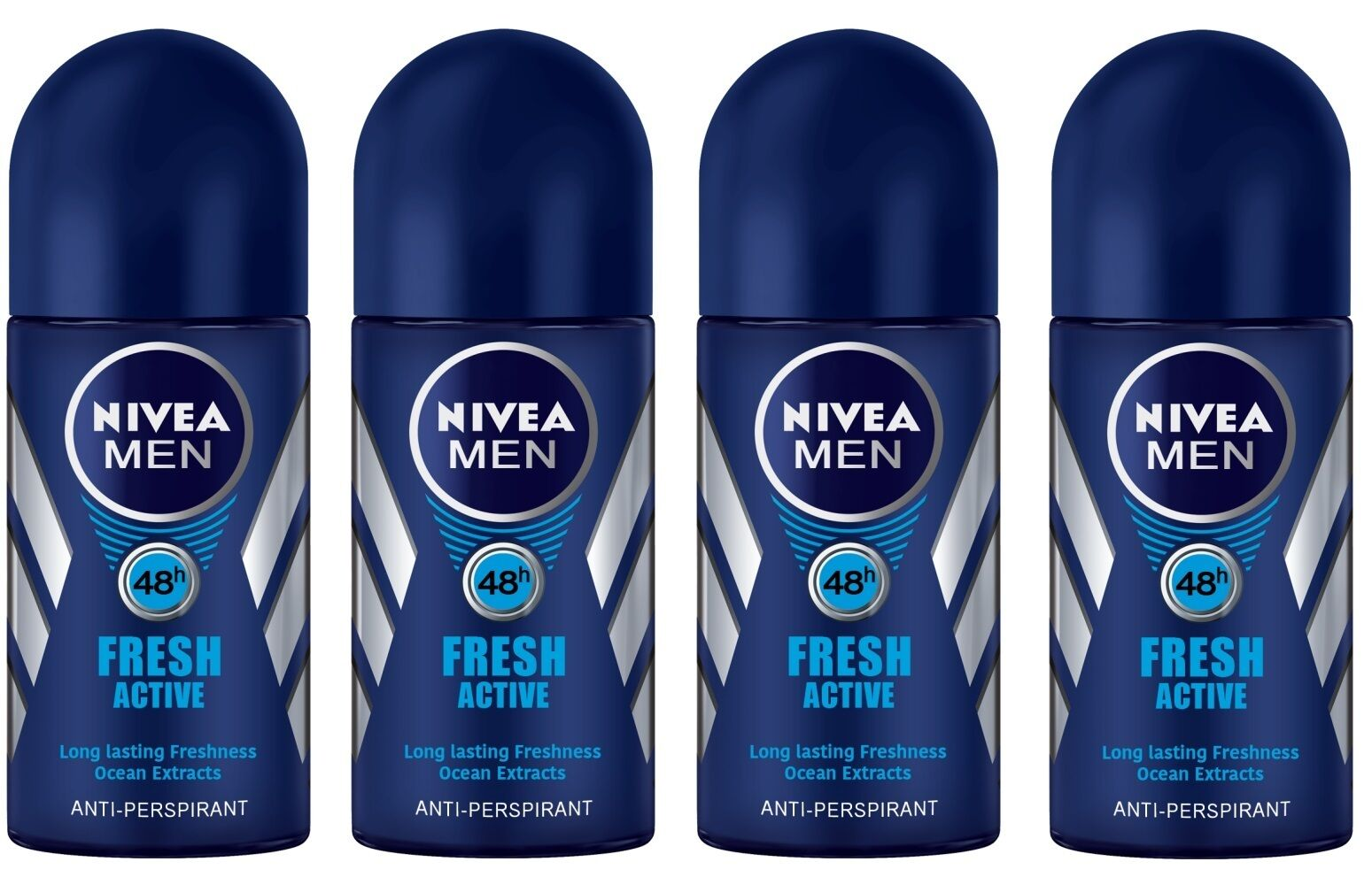 4x Nivea Fresh Active Anti Perspirant Deodorant Roll On For Men Invisible Black White 50 Ml 50ml 1 Of 1free Shipping