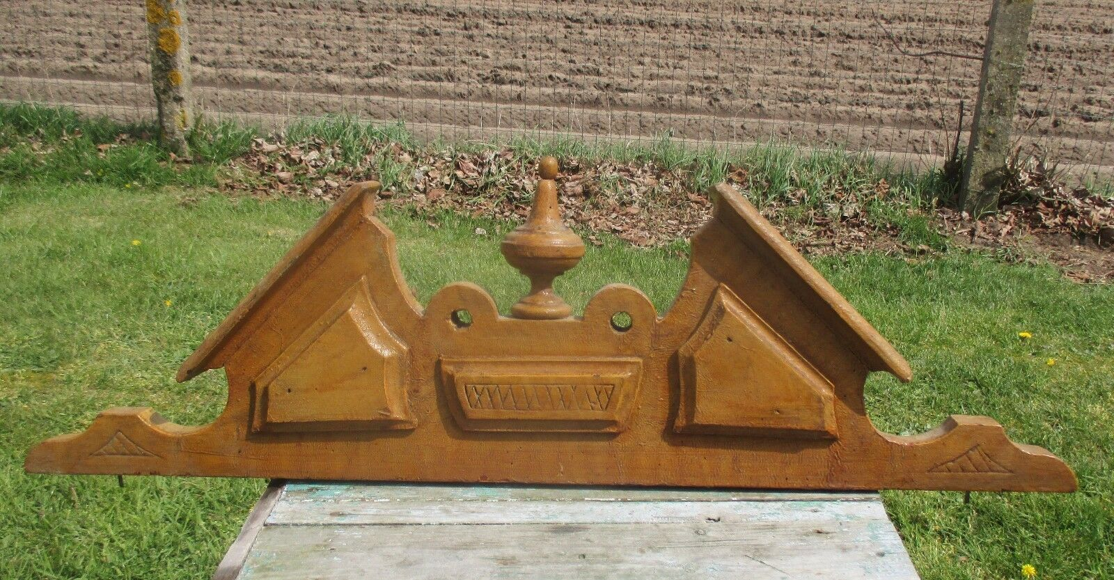 Carved Wood Pediment Ornate  Overdoor Architectural Spindle Brown Paint