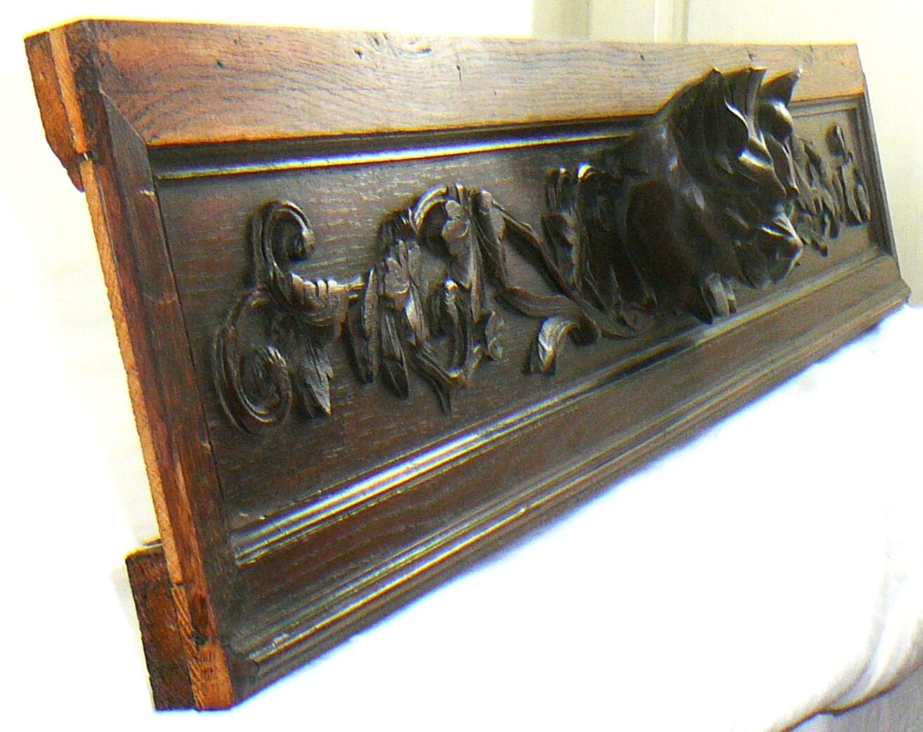 Antique Pediment french oak cats catlike panther