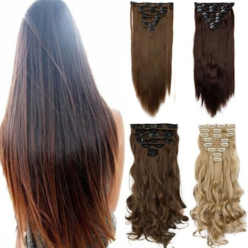 100 Real Thick Clip In Hair Extensions Long Curly Full Head Hair