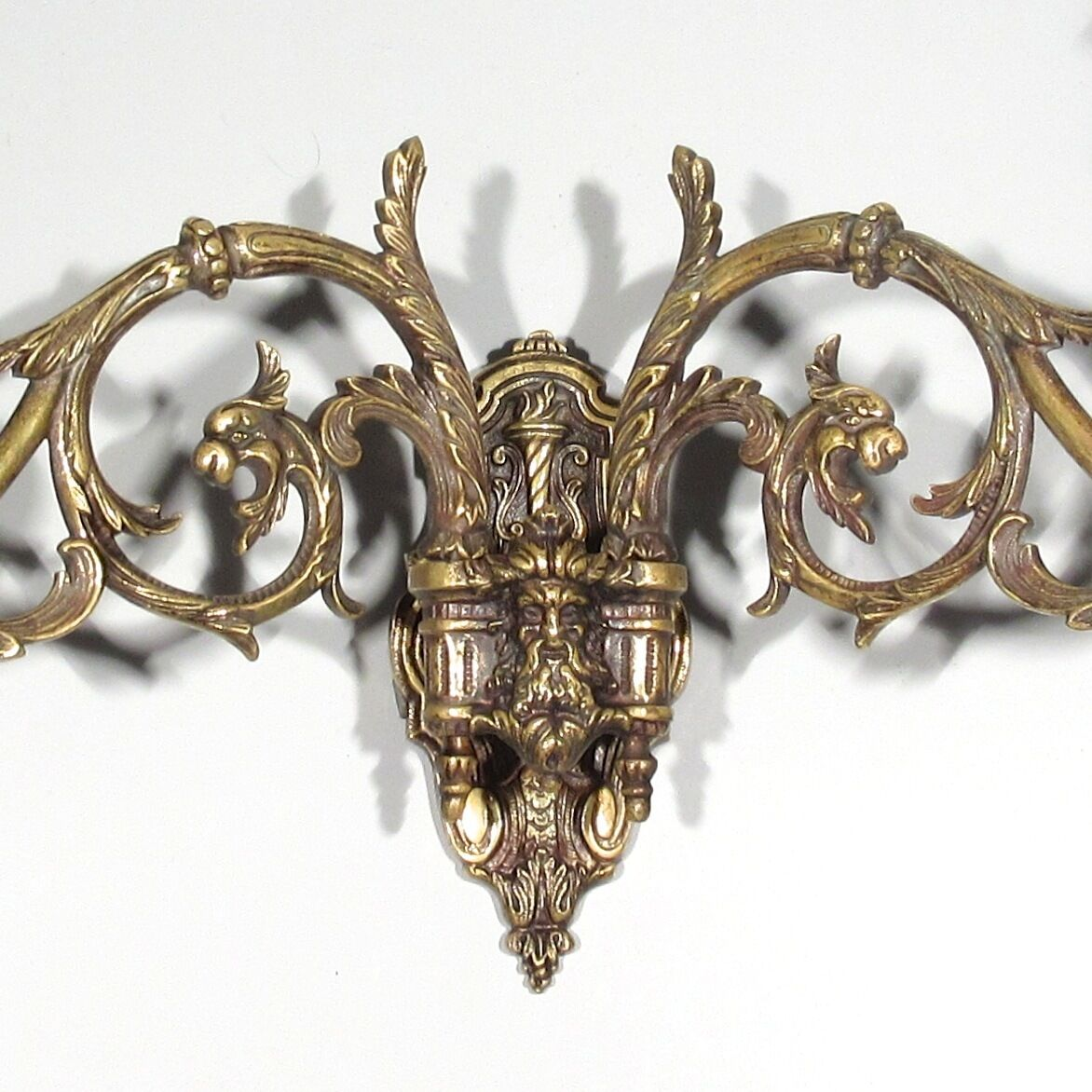 "Antique French Piano Sconce, Dragons, Grotesque and Torch, Signed ""Pinet"""
