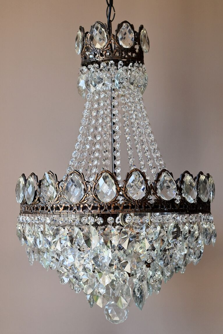 MASSIVE Antique French Vintage Crystal Chandelier Lamp 1950's Old Home Lighting