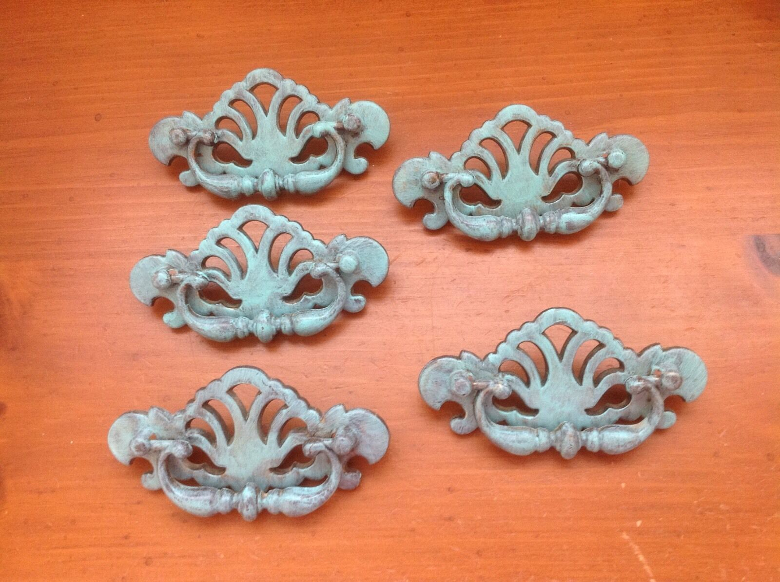 550 VTG French Provincial Swing Pulls In Turquoise Distressed 5 Available,each