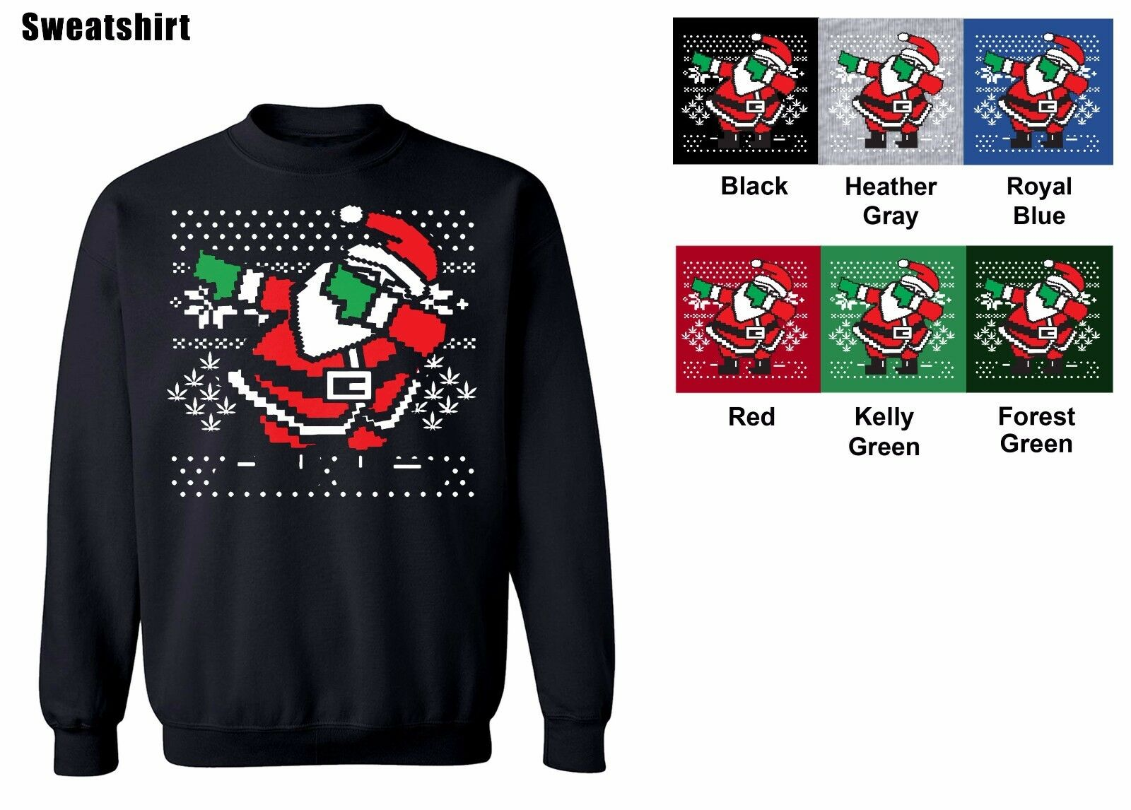 dabbing santa crew neck sweatshirt ugly christmas sweater s 5xl free shipping 1 of 3free shipping