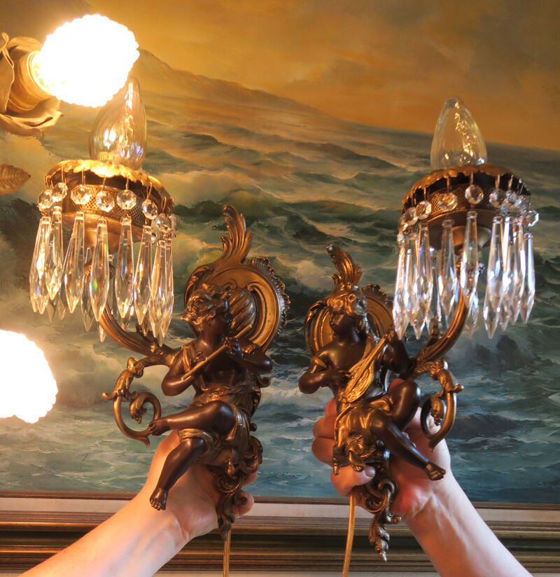PAIR Blackamoor music lady man Spelter Brass sconces French lamp Vintage Antique