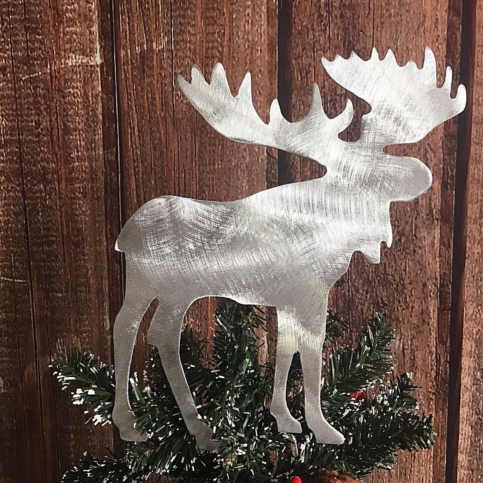 moose metal christmas tree topper rustic holiday decoration cabin country - Rustic Christmas Tree Topper