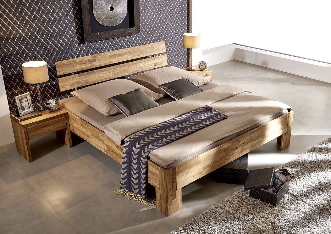 doppelbett bett 160x200 wildeiche eiche holz massiv ge lt. Black Bedroom Furniture Sets. Home Design Ideas