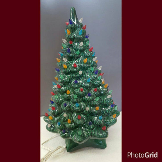 vintage style ceramic christmas tree large holland with lights base and bulb 1 of 3