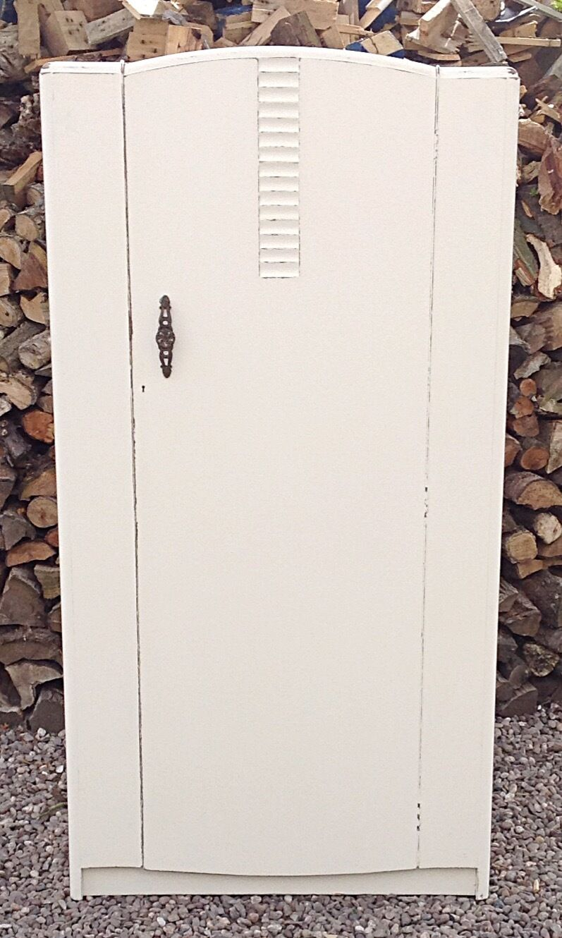Vintage  Oak Stag  Single Wardrobe 20  Th Century Painted Shabby Chic