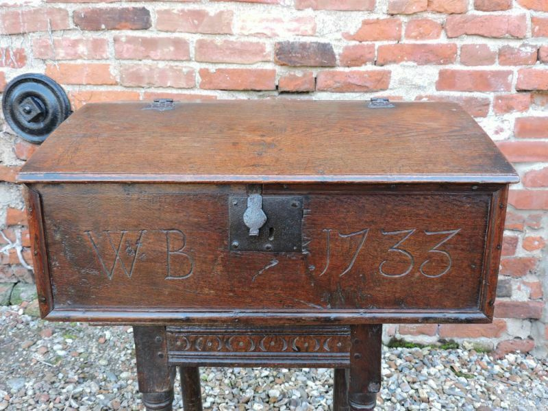 "Early 18th Century English Antique Oak Desk Box Bible Box ""WB 1733"""