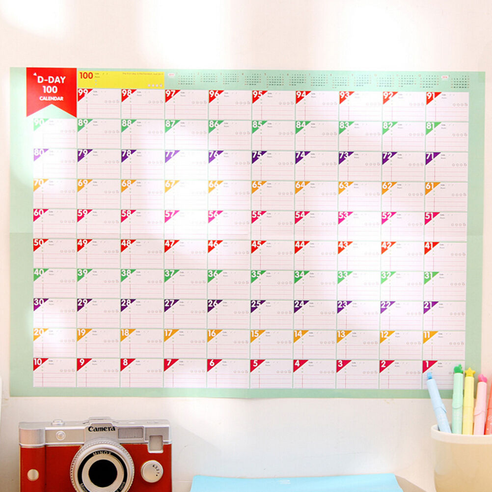 100 calendar wall sticker write and erase monthly planner calendar wall planner daily schedule large size lovely lovely wall