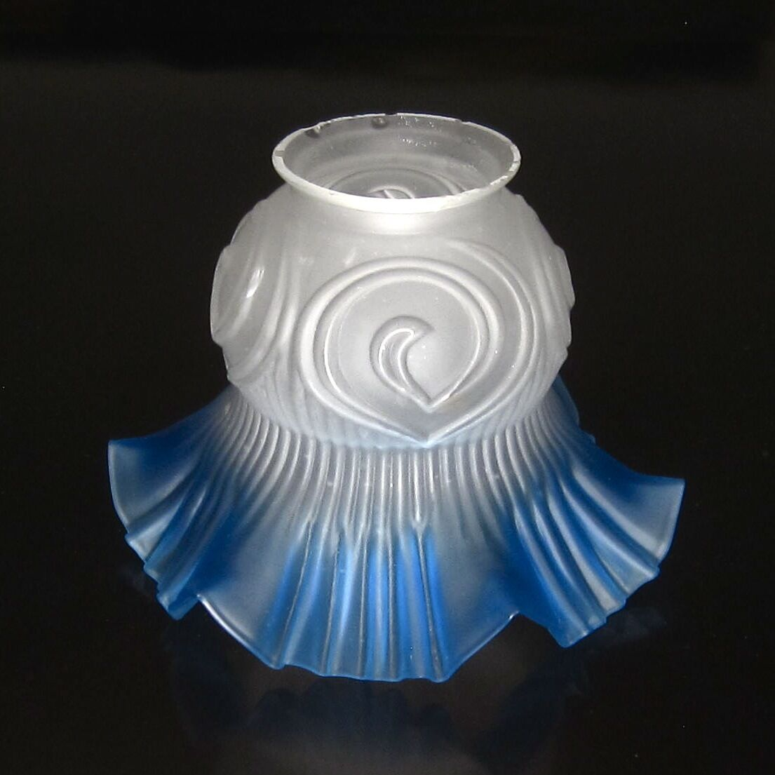 Vintage French / Czechoslovakian Art Deco Frosted Glass Lamp Ceiling Shade, Blue