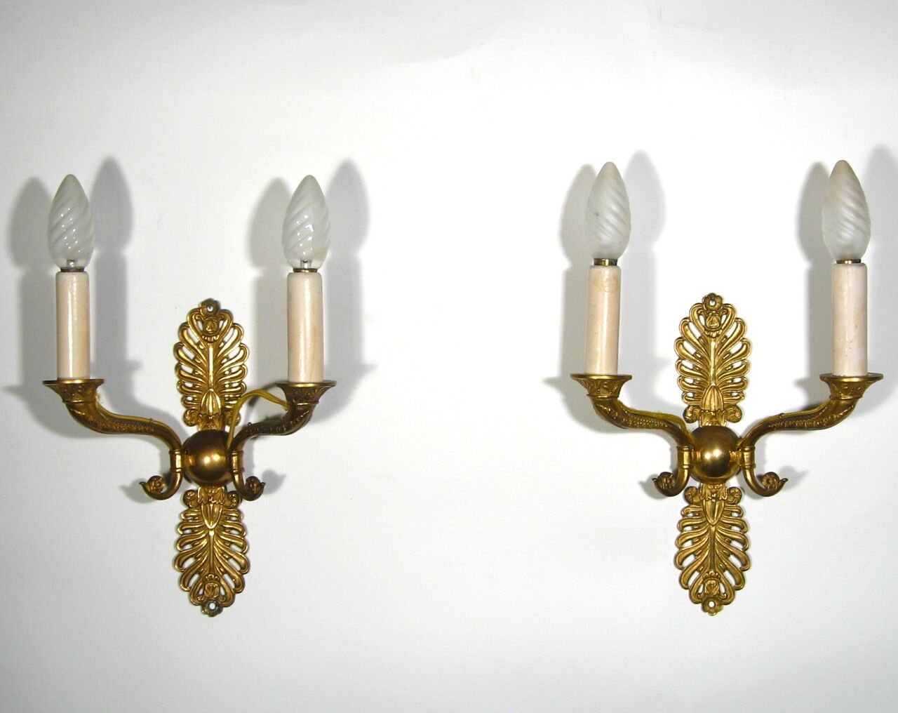 Pair of OldFrench Gilded Bronze Sconces, Empire Style, Numbered