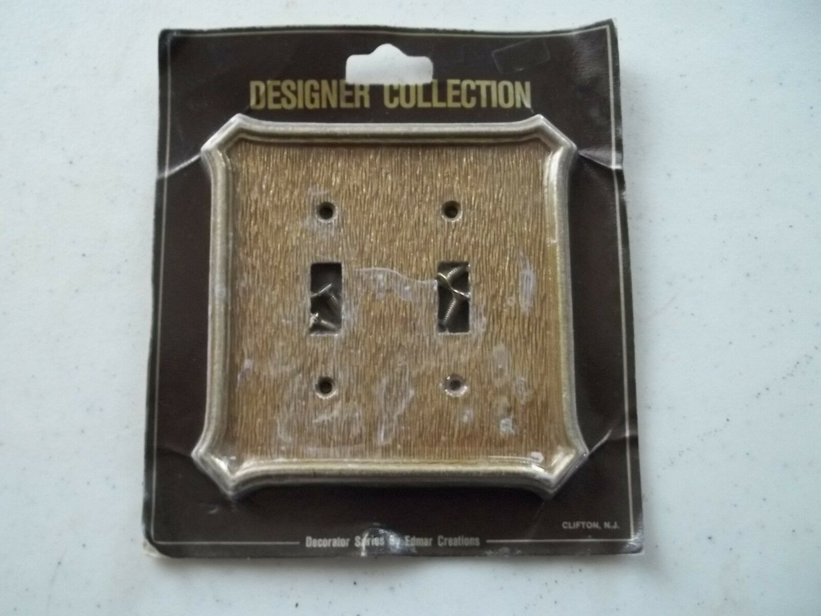 New Old Stock Edmar Creations Double Switch Plate Cover, Designer Coll.,Free S/H
