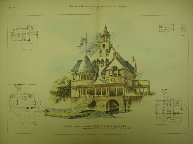 Proposed Consolidated Yacht Club House, Newport, RI, 1890, Original Plan