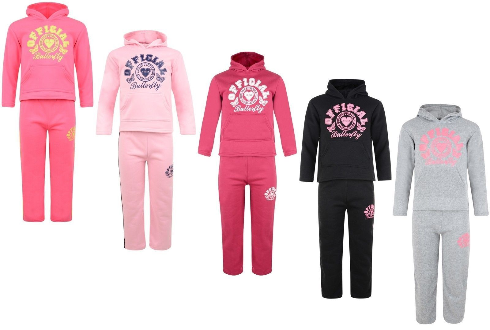 Kids Tracksuit Girls Jog Set Official Butterfly Hooded Top & Joggers Bnwt