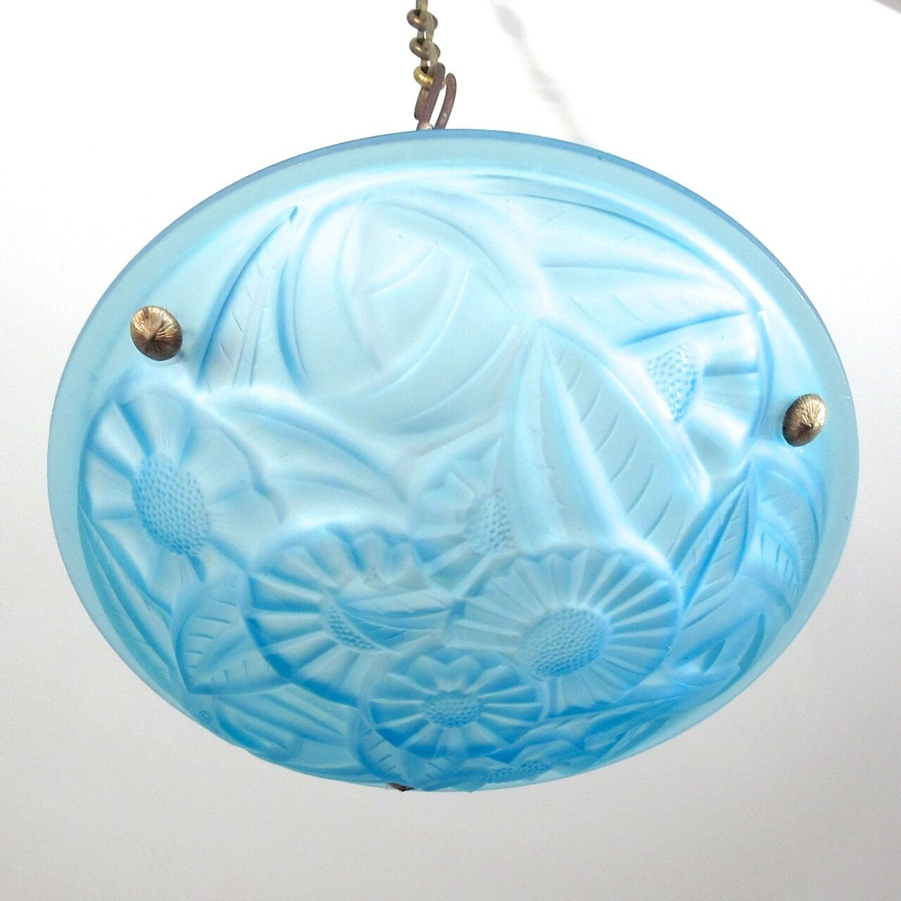 Vintage French Art Deco Blue Glass Chandelier Ceiling Lamp Signed Degué