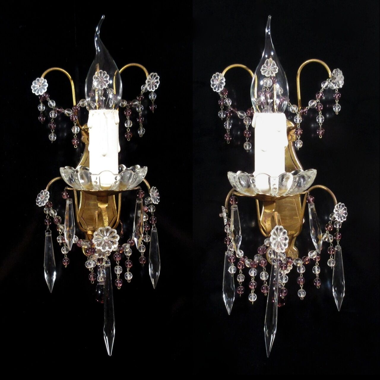 Pair of Vintage French Bronze Sconces Amethyst BeadsCrystal Icicle Prisms