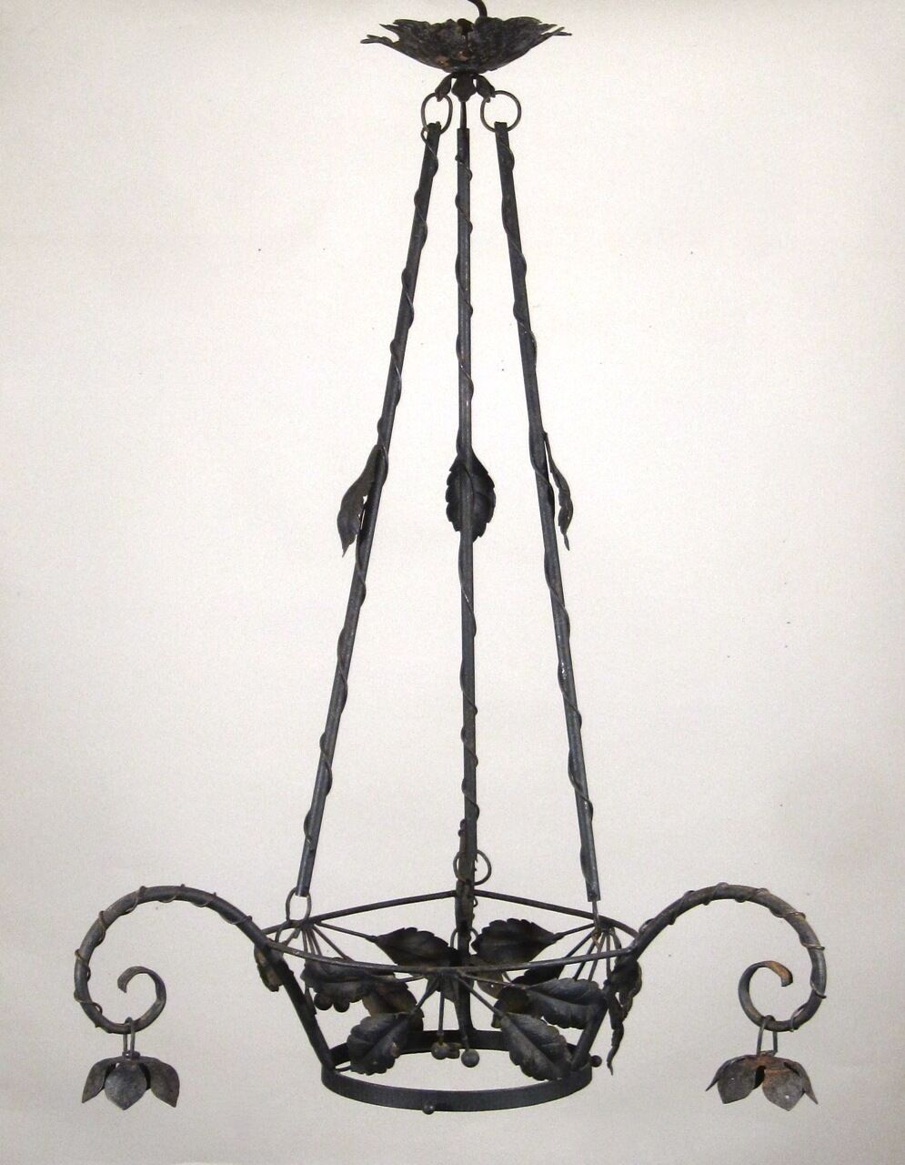 Antique French Art Nouveau Period Wrought Iron & Tole Chandelier Frame, Cherry
