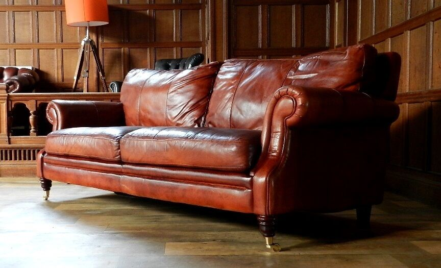 VICTORIAN STYLE CHESTNUT ANTIQUE TAN BROWN LEATHER 3 SEATER CLUB SOFA 1 of PAIR