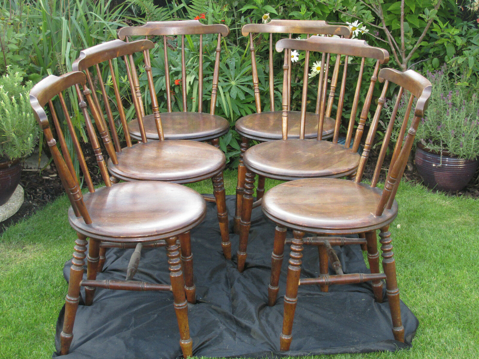 Antique Elm Spindle Back Penny Chairs by Ibex Late 19th C Furniture