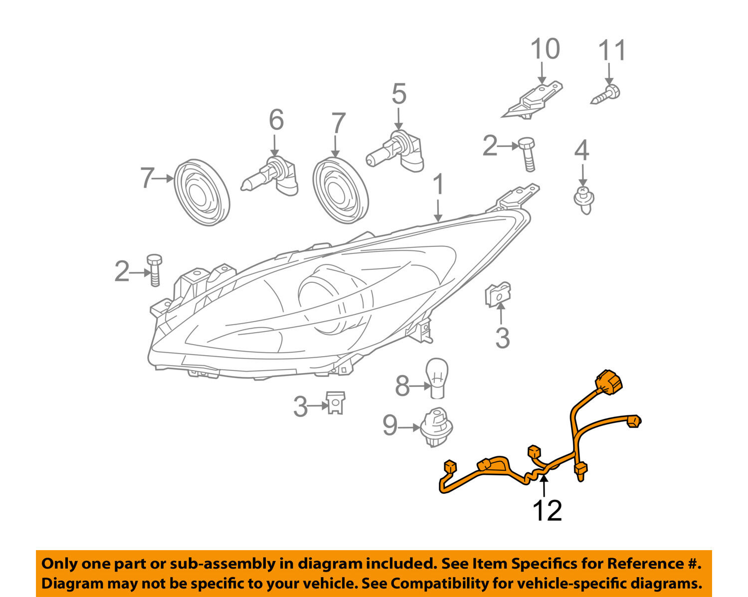 Mazda Oem 10 12 3 Headlight Head Light Lamp Harness Bbm4510k6 Cx 9 Wiring Schematic 1 Of 2only Available