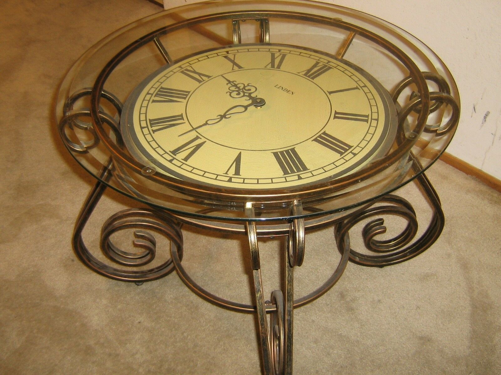 Metal Coffee Cocktail End Table With Clock Face Glass 1 Of See More