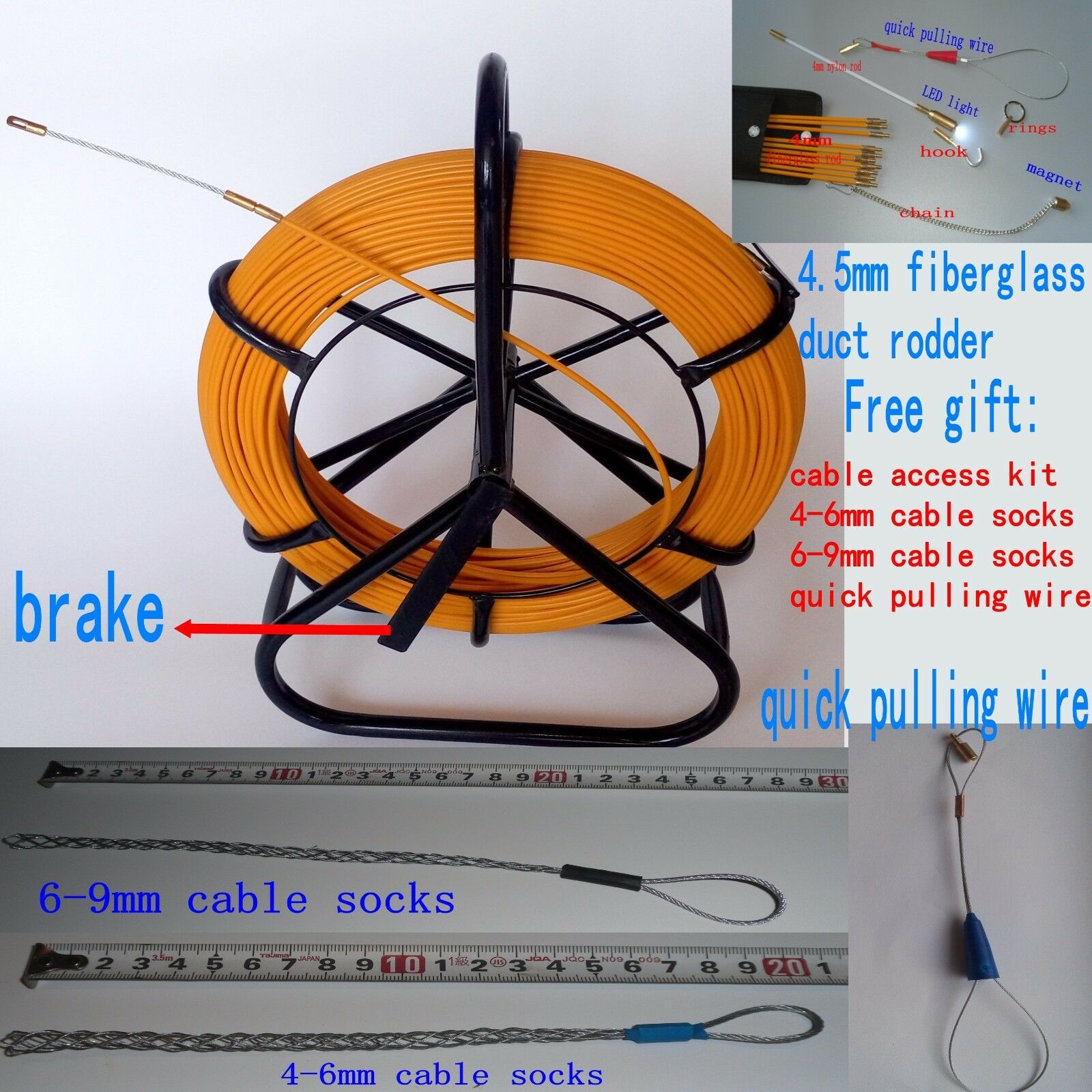FIBERGLASS DUCT RODDER fish tape Cable Running Rod wire puller push ...