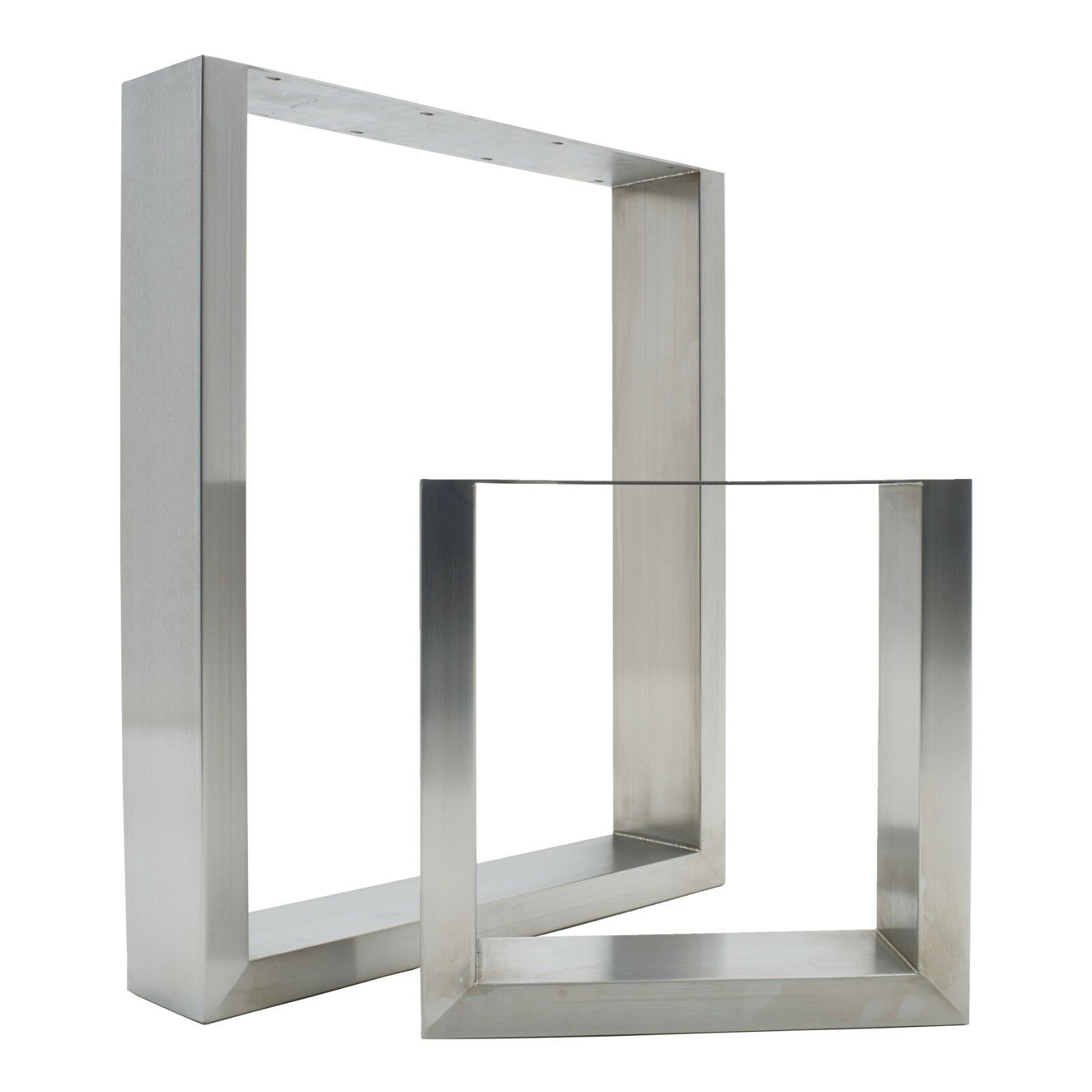 2 X Stainless Steel Table Legs Sleek Modern Brushed Finish 1 Of 8