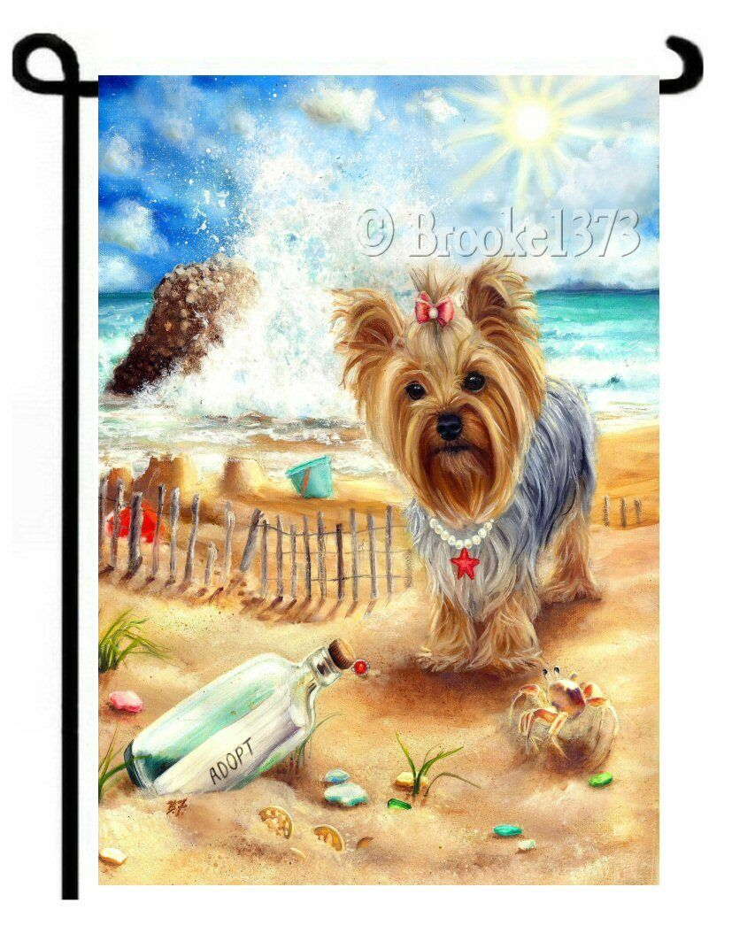 YORKIE BY SEA painting Message in a bottle GARDEN FLAG Yorkshire ...