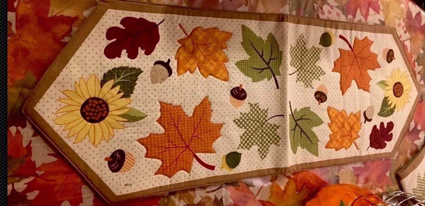 Fall Harvest Thanksgiving Autumn Leaves Sunflowers Table Runner Centerpiece 37 1 Of 3only Available