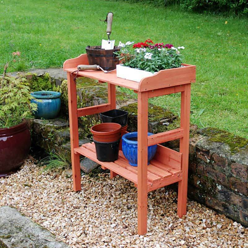 Outdoor wooden fir potting table garden bench greenhouse staging shelf decking Outdoor potting bench