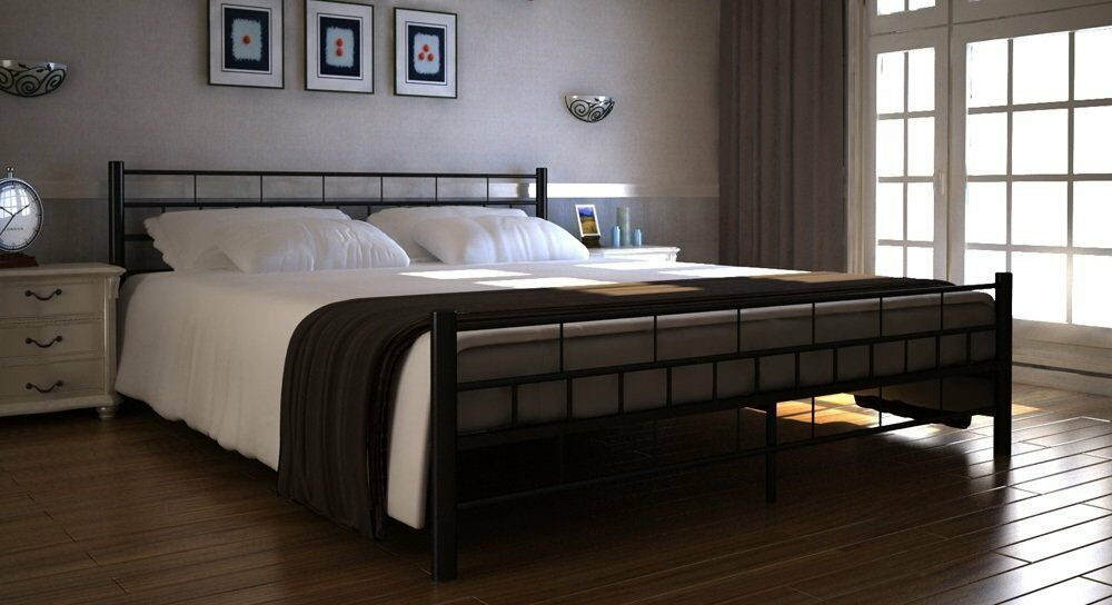 doppelbett ehebett metallbett 160x200 ehebett schwarz mit lattenrost top neu2017 eur 79 00. Black Bedroom Furniture Sets. Home Design Ideas