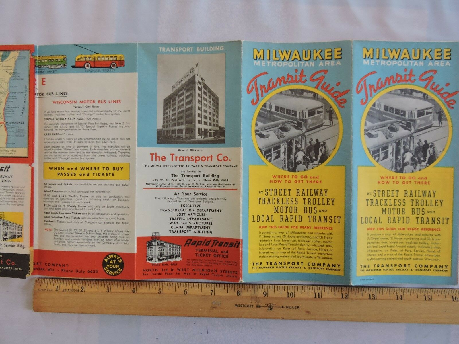Rare 1939 18x24 Map Milwaukee Transport Railway Bus Trolley Transit