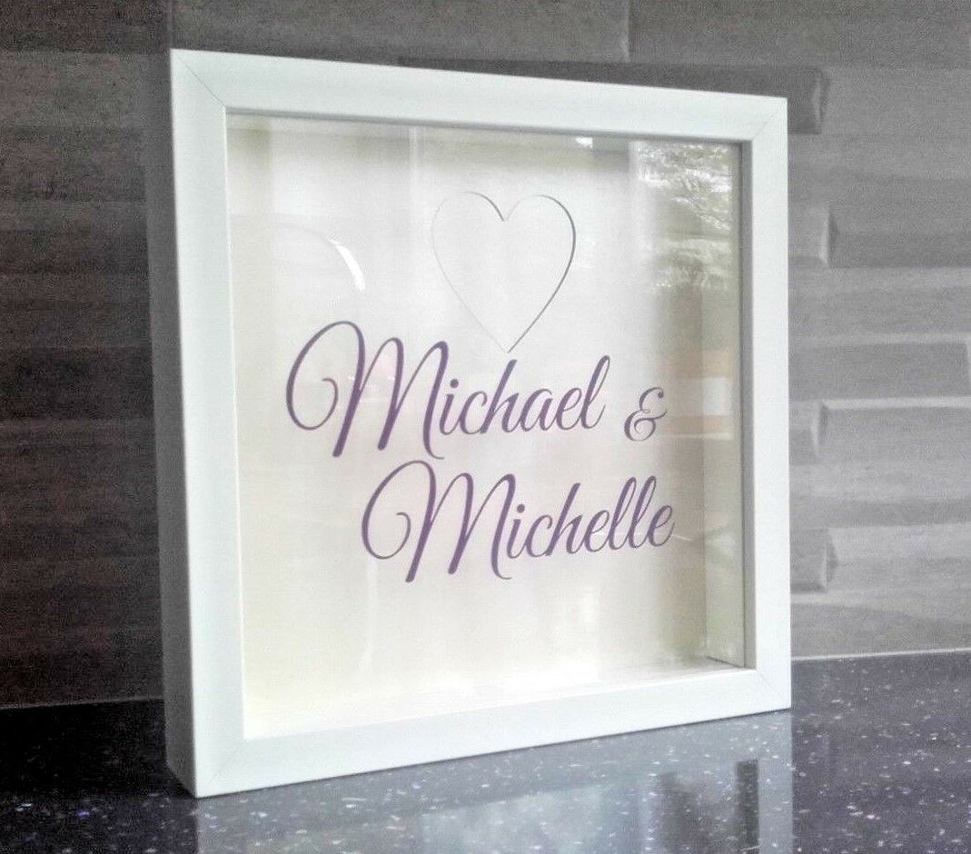 WEDDING GUEST BOOK Drop Box Frame with Hearts - Personalised ...